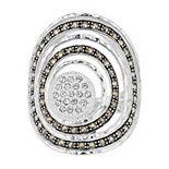 Lavish by TJM Sterling Silver Crystal Cocktail Ring with Swarovski Marcasite