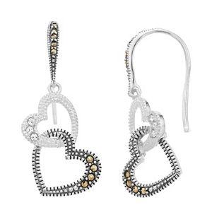 Lavish by TJM Sterling Silver Marcasite & White Crystal Double Heart Drop Earrings