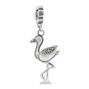 Lavish by TJM Sterling Silver Flamingo Charm with Swarovski Marcasite