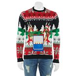 Men's Holiday Happy Hour Christmas Sweater With Drink Pocket