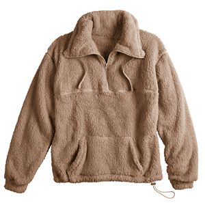 Juniors' SO® Long Sleeve Quarter-Zip Oversized Sherpa Sweatshirt