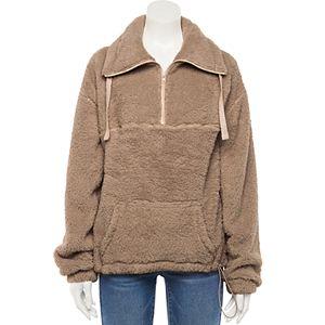 Juniors' SO® Long Sleeve Quarter-Zip Oversized Sherpa Sweatshirt