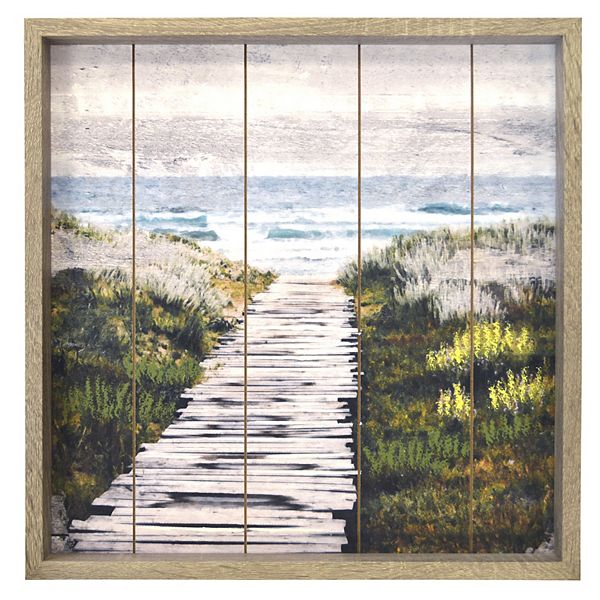 New View Gifts Path To The Beach Route Plank Framed Wall Art