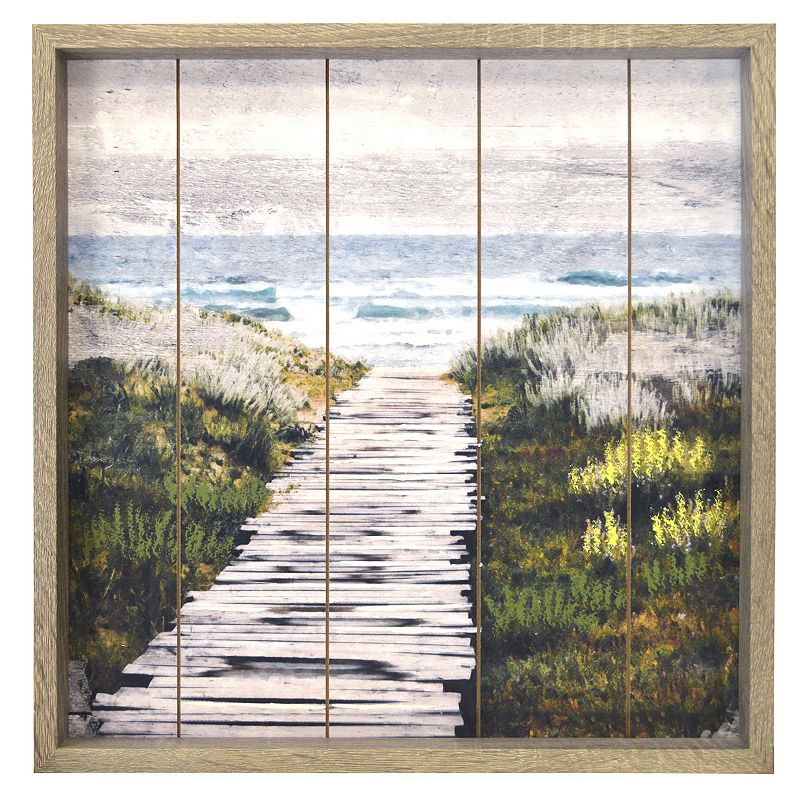 New View Gifts Path to the Beach Route Plank Framed Wall Art, Green