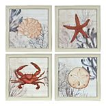 New View Ava Barrett Coastal Coral Framed Wall Art 4-piece Set