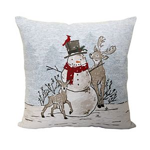 St. Nicholas Square Snowman & Deer Tapestry Throw Pillow