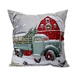 St. Nicholas Square® Truck & Barn Holiday Tapestry Throw Pillow