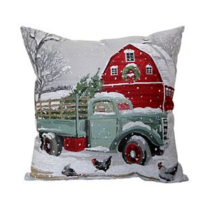 St. Nicholas Square Truck & Barn Holiday Tapestry Oblong Throw Pillow