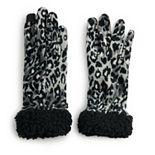 Women's Cuddl Duds® Double Plush Velour & Sherpa Cuff Gloves
