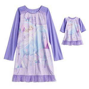Disney's Frozen 2 Elsa Girls 4-8 Wild Spirit 2-Piece Nightgown with Matching Doll Nightgown
