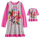 Girls 4-8 DreamWorks Trolls 2-Piece Poppy Powered Rainbow Nightgown with Matching Doll Nightgown Set