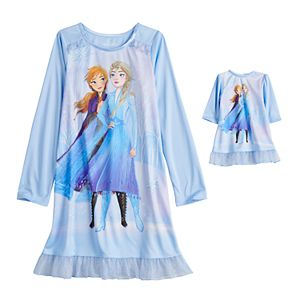 Disney's Frozen 2 Girls 4-8 Sisters Wonderland 2-Piece Nightgown with Matching Doll Nightgown