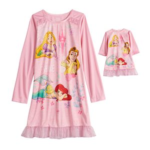 Disney's Princess Girls 4-8 Look At Me Shine 2-Piece Nightgown with Matching Doll Nightgown