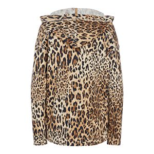 Plus Size Chaps Hooded Animal-Print top