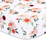 The Peanutshell Rose Tossed Floral Fitted Crib Sheet