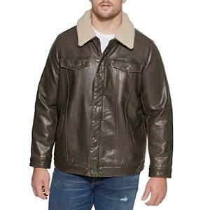Men's Levi's Classic Faux-Leather Trucker Jacket With Detachable Sherpa Collar