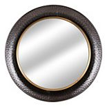 E2 Rustic Silver Antiqued Round Farmhouse Mirror