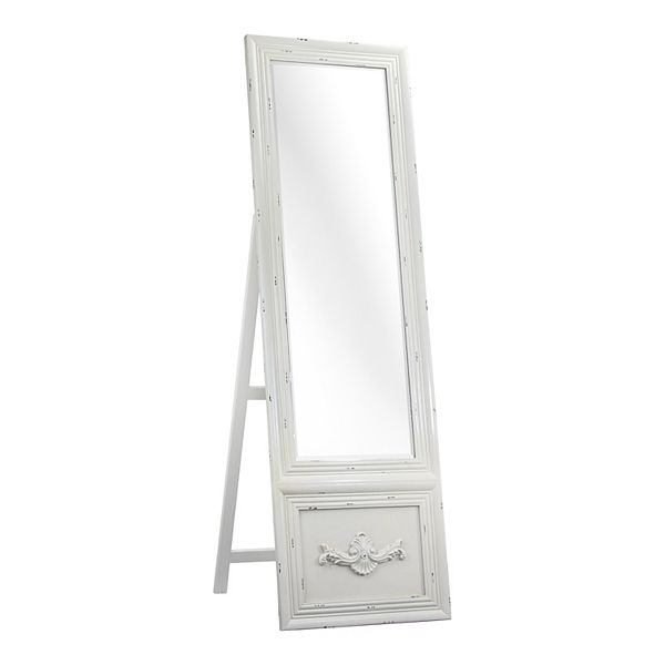 Art Décor Distressed Easel Floor Mirror, White Floor Mirror With Easel