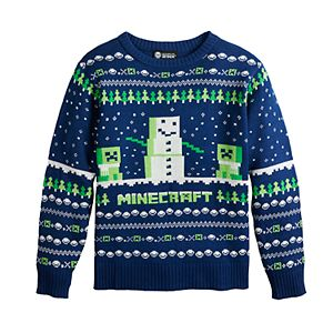Boys 8-20 Minecraft Intarsia Holiday Sweater