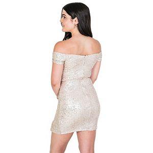 Juniors' B. Smart Off-the-Shoulder Sequined A-Line Dress