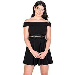 Juniors' B. Smart Fit & Flare Dress with Velvet Lace-Trimmed Waist