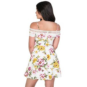 Juniors' B. Smart Off-the-Shoulder A-Line Floral Dress