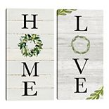 Fine Art Canvas Home & Love Panel 2-piece Wall Art