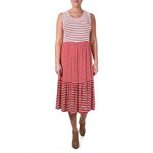 Women's Nina Leonard Striped Tiered Dress