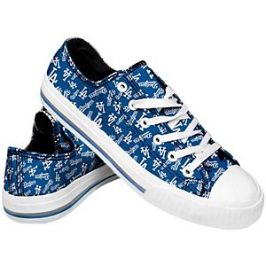Women's Los Angeles Dodgers Low Top Repeat Print Canvas Shoes