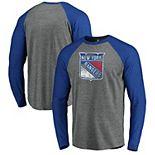 Men's Fanatics Branded Heathered Gray/Heathered Blue New York Rangers Team Tri-Blend Raglan Long Sleeve T-Shirt
