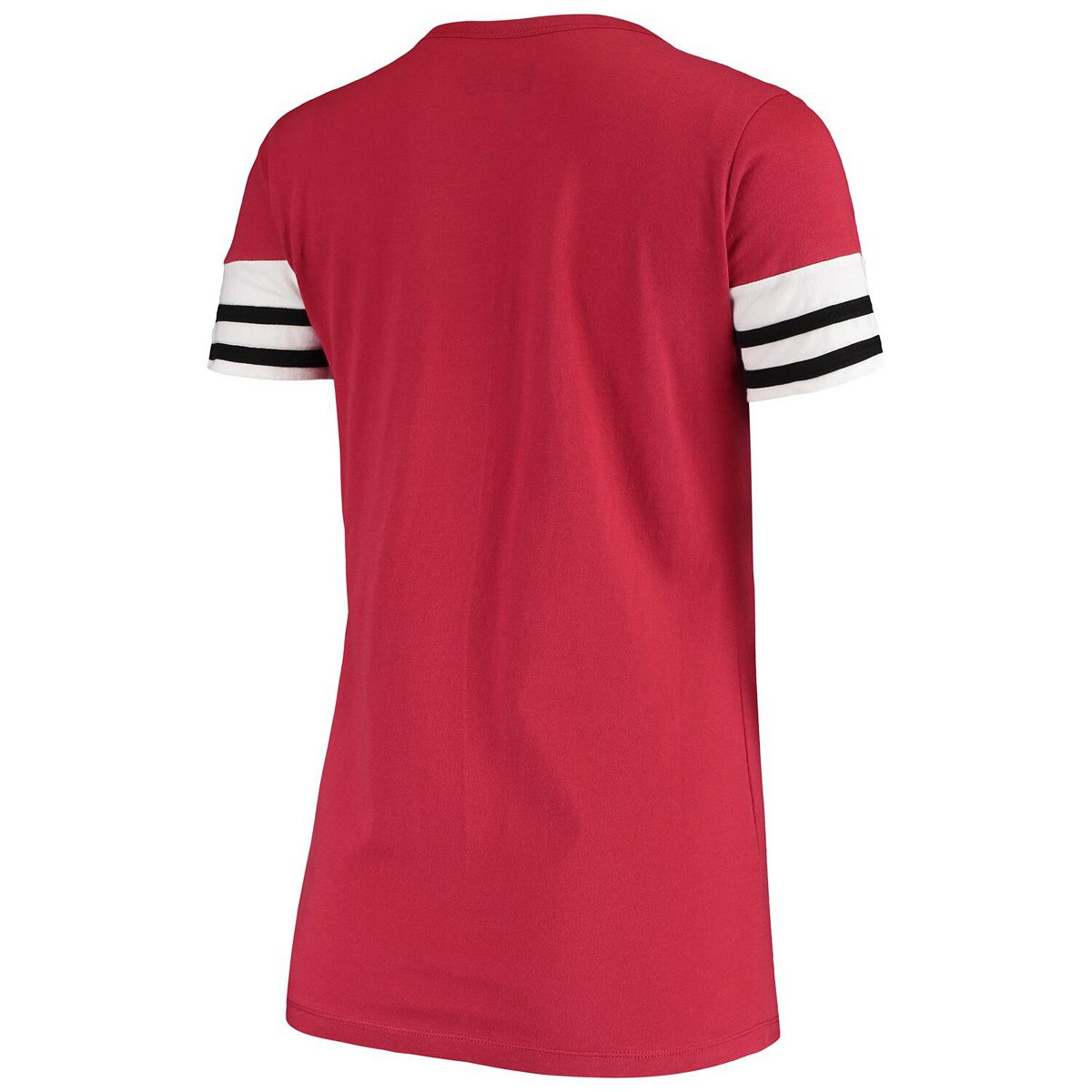 Women's New Era Cardinal Arizona Cardinals Contrast Sleeve Stripe V-Neck T-Shirt PAAZX