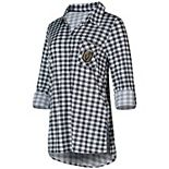 Women's Concepts Sport Charcoal/White Vegas Golden Knights Wanderer Plaid Nightshirt