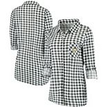 Women's Concepts Sport Charcoal/White Pittsburgh Penguins Wanderer Plaid Nightshirt