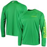 Men's Columbia PFG Green Oregon Ducks Terminal Tackle Omni-Shade Long Sleeve T-Shirt