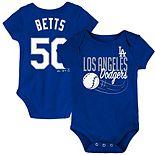 Infant Mookie Betts Royal Los Angeles Dodgers Baby Slugger Name & Number Bodysuit