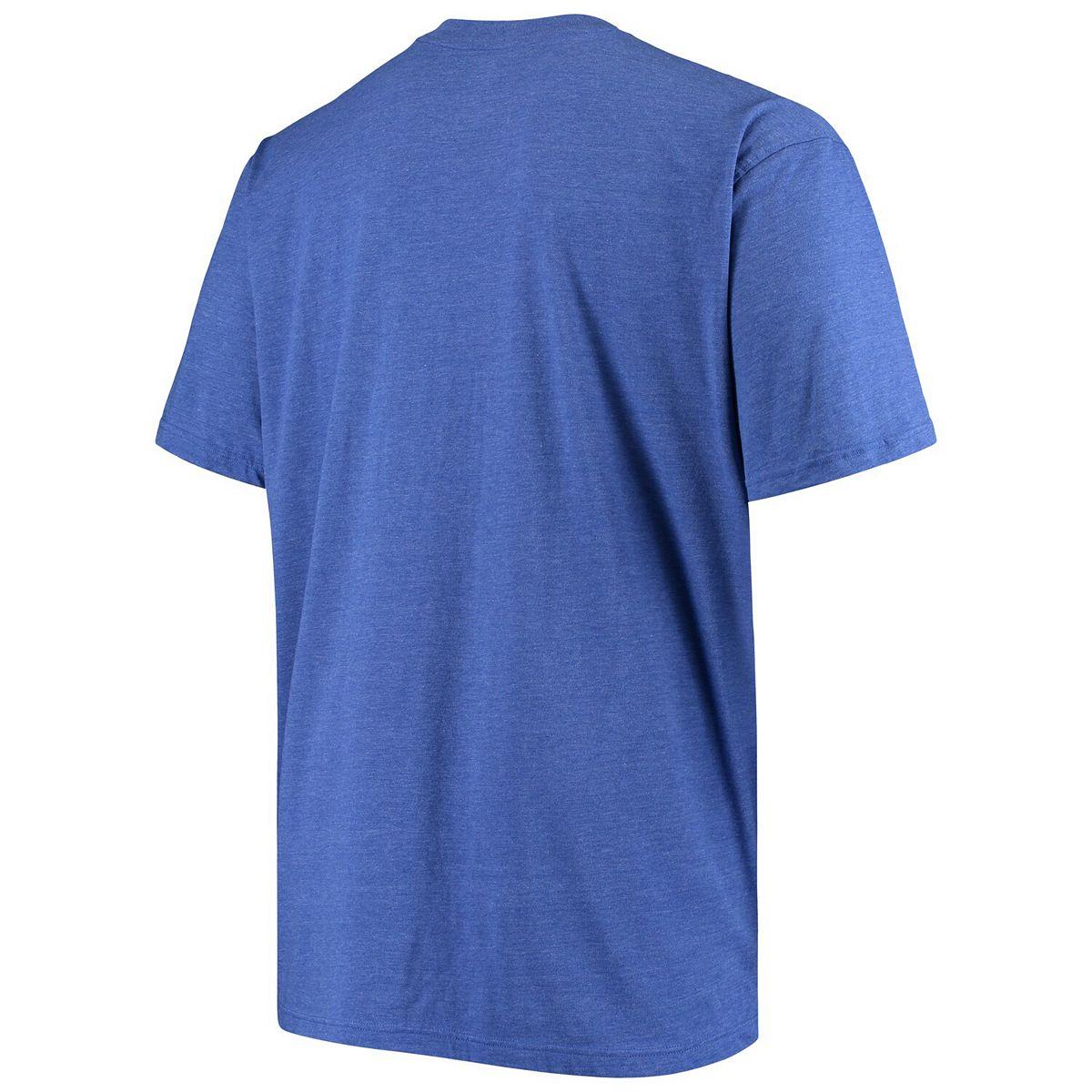 Men's Heathered Royal Kansas City Royals Distressed Team Logo Tri-Blend T-Shirt S2HYV