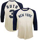 Men's Majestic Threads Babe Ruth Cream New York Yankees Softhand Cotton Cooperstown 3/4-Sleeve Raglan T-Shirt