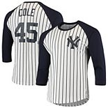 Men's Majestic Threads Gerrit Cole White/Navy New York Yankees Softhand Pinstripe Name & Number Raglan 3/4-Sleeve T-Shirt