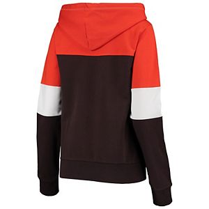 Women's New Era Brown Cleveland Browns French Terry Contrast Insert Full-Zip Jacket