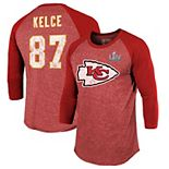 Men's NFL Pro Line by Fanatics Branded Travis Kelce Red Kansas City Chiefs Super Bowl LIV Bound Player Name & Number 3/4-Sleeve Raglan T-Shirt