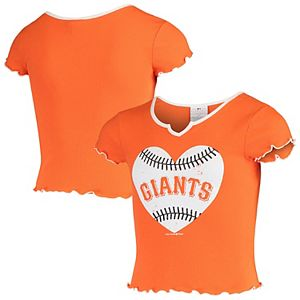Girls Youth Justice Orange/White San Francisco Giants Tri-Blend Heart Bling T-Shirt