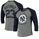 Men's Majestic Threads Don Mattingly Heathered Gray/Navy New York Yankees Cooperstown Collection Name & Number Tri-Blend Raglan 3/4-Sleeve T-Shirt