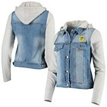 Women's Antigua Denim/Heathered Gray Nashville SC Swag Denim Bomber Hoodie Jacket