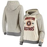 Women's Soft as a Grape Oatmeal Houston Astros Striped Pullover Hoodie