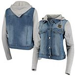 Women's Antigua Denim/Heathered Gray LAFC Swag Denim Bomber Hoodie Jacket