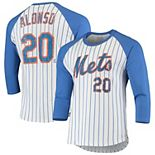 Men's Majestic Threads Pete Alonso White/Royal New York Mets Softhand Pinstripe Name & Number Raglan 3/4-Sleeve T-Shirt