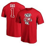 Men's Fanatics Branded Red Wisconsin Badgers #1 Dad T-Shirt