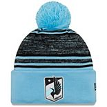 Men's New Era Light Blue Minnesota United FC On-Field Collection Cuffed Knit Hat with Pom