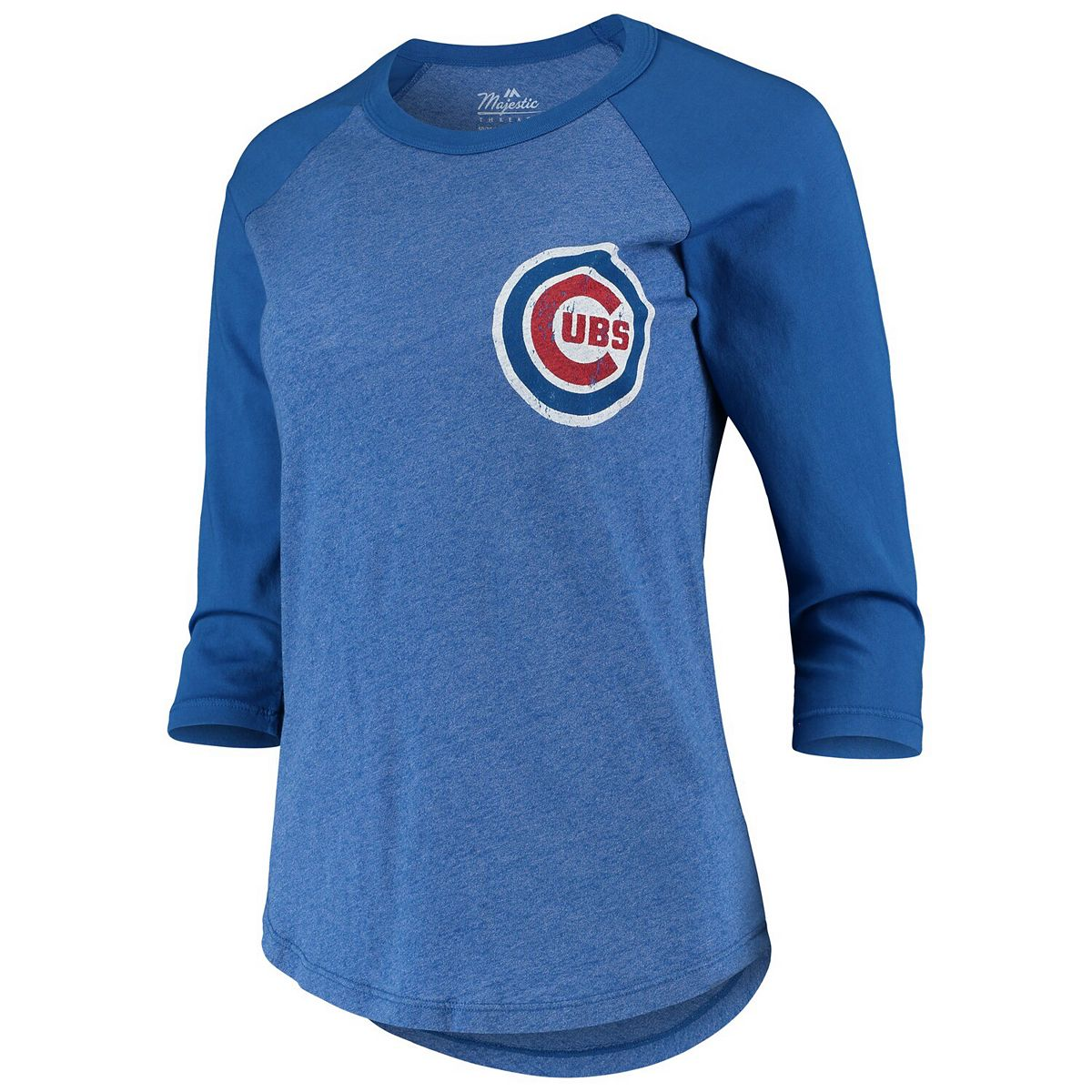 Women's Majestic Threads Javier Baez Royal Chicago Cubs Name & Number Tri-Blend Raglan 3/4-Sleeve T-Shirt zLQh8