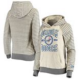 Women's Soft as a Grape Oatmeal Los Angeles Dodgers Striped Pullover Hoodie